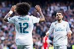 Real Madrid Marcelo and Mateo Kovacic during Semi Finals UEFA Champions League match between Real Madrid and Bayern Munich at Santiago Bernabeu Stadium in Madrid, Spain. May 01, 2018. (ALTERPHOTOS/Borja B.Hojas)