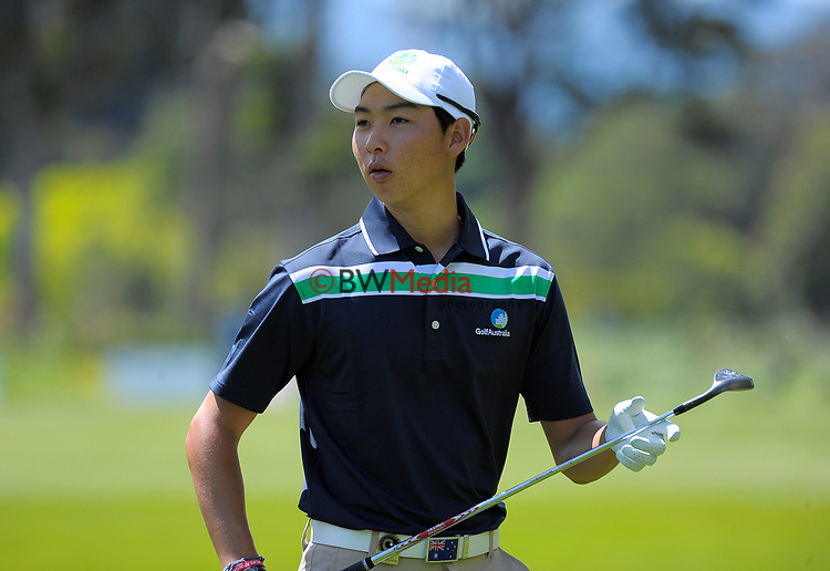 Min-woo Lee (Aus) on day one of the 2017 Asia-Pacific Amateur Championship day one at Royal Wellington Golf Club in Wellington, New Zealand on Thursday, 26 October 2017. Photo: Dave Lintott / lintottphoto.co.nz