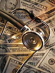 photo-illustration of the high cost of healthcare with stethoscope and money