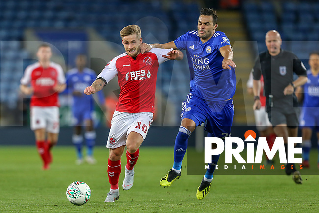 Conor McAleny of Fleetwood Town and Vicente Iborra of Leicester City during the English League Cup Round 2 Group North match between Leicester City and Fleetwood Town at the King Power Stadium, Leicester, England on 28 August 2018. Photo by David Horn.