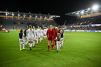 Orlando City, FL - Wednesday March 07, 2018: USWNT and England starting line up's during a 2018 SheBelieves Cup match between the women's national teams of the United States (USA) and England (ENG) at Orlando City Stadium.