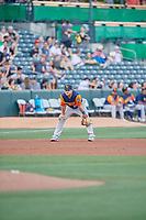 Sheldon Neuse (21) of the Las Vegas Aviators during the game against the Salt Lake Bees at Smith's Ballpark on July 20, 2019 in Salt Lake City, Utah. The Aviators defeated the Bees 8-5. (Stephen Smith/Four Seam Images)