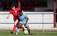 Tyreece Briscoe of Tuffley Rovers & Jack Taylor of Flackwell Heath during the UHLSport Hellenic Premier League match between Flackwell Heath v Tuffley Rovers at Wilks Park, Flackwell Heath, England on 20 April 2019. Photo by Andy Rowland.