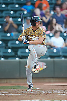 Alex Kowalczyk (22) of the Down East Wood Ducks at bat against the Winston-Salem Dash at BB&T Ballpark on May 12, 2018 in Winston-Salem, North Carolina. The Wood Ducks defeated the Dash 7-5. (Brian Westerholt/Four Seam Images)