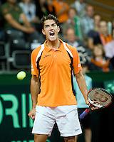 19-9-08, Netherlands, Apeldoorn, Tennis, Daviscup NL-Zuid Korea, Seccond rubber  Jesse Huta Galung   schreeuwt het uit