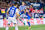 Mikel Oyarzabal (C) of Real Sociedad fights for the ball with  Gabriel Fernandez Arenas, Gabi (R), of Atletico de Madrid during their La Liga match between Atletico de Madrid vs Real Sociedad at the Vicente Calderon Stadium on 04 April 2017 in Madrid, Spain. Photo by Diego Gonzalez Souto / Power Sport Images