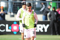 WASHINGTON, DC - MARCH 07: Dylan Nealis #18 of Inter Miami CF during pre game warmups during a game between Inter Miami CF and D.C. United at Audi Field on March 07, 2020 in Washington, DC.