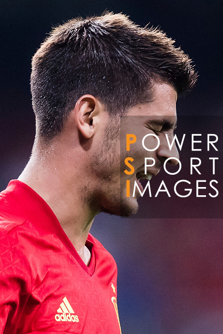 Alvaro Morata of Spain reacts during their 2018 FIFA World Cup Russia Final Qualification Round 1 Group G match between Spain and Italy on 02 September 2017, at Santiago Bernabeu Stadium, in Madrid, Spain. Photo by Diego Gonzalez / Power Sport Images