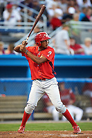 Williamsport Crosscutters outfielder Yan Olmo #18 during a NY-Penn League game against the Batavia Muckdogs at Dwyer Stadium on August 24, 2012 in Batavia, New York.  Williamsport defeated Batavia 7-4.  (Mike Janes/Four Seam Images)
