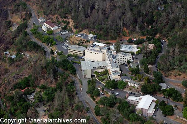 aerial photograph of Adventist Heath, acute care hospital, St. Helena, Napa County, California