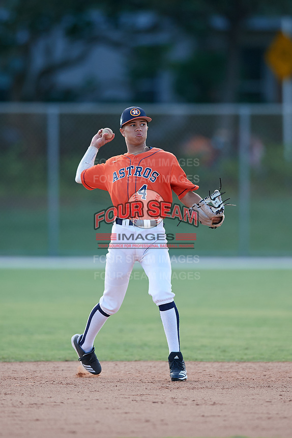 Jordan Carrion during the WWBA World Championship at the Roger Dean Complex on October 18, 2018 in Jupiter, Florida.  Jordan Carrion is a shortstop from Miami, Florida who attends American Heritage High School and is committed to Florida.  (Mike Janes/Four Seam Images)