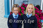 Twins Phoebe and Fabien Reen-Cronin on their first day of school in Faha NS on Monday