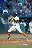 Raul Siri (5) of the Greensboro Grasshoppers at bat against the Hagerstown Suns at First National Bank Field on April 6, 2019 in Greensboro, North Carolina. The Suns defeated the Grasshoppers 6-5. (Brian Westerholt/Four Seam Images)