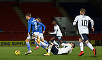 23.12.2020 St Johnstone v Rangers: <br /> Ianis Hagi caught by the flailing arm of David Wotherspoon who earns a booking