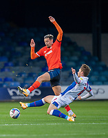Luton Town's Harry Cornick (left) is tackled by Blackburn Rovers' Tom Trybull (right) <br /> <br /> Photographer David Horton/CameraSport<br /> <br /> The EFL Sky Bet Championship - Luton Town v Blackburn Rovers - Saturday 21st November 2020 - Kenilworth Road - Luton<br /> <br /> World Copyright © 2020 CameraSport. All rights reserved. 43 Linden Ave. Countesthorpe. Leicester. England. LE8 5PG - Tel: +44 (0) 116 277 4147 - admin@camerasport.com - www.camerasport.com