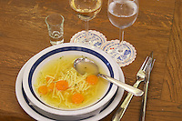 Minestrone type soup with bouillon, spaghetti and carrots. In the restaurant and wine bar at the winery. Podrum Vinoteka Sivric winery, Citluk, near Mostar. Federation Bosne i Hercegovine. Bosnia Herzegovina, Europe.