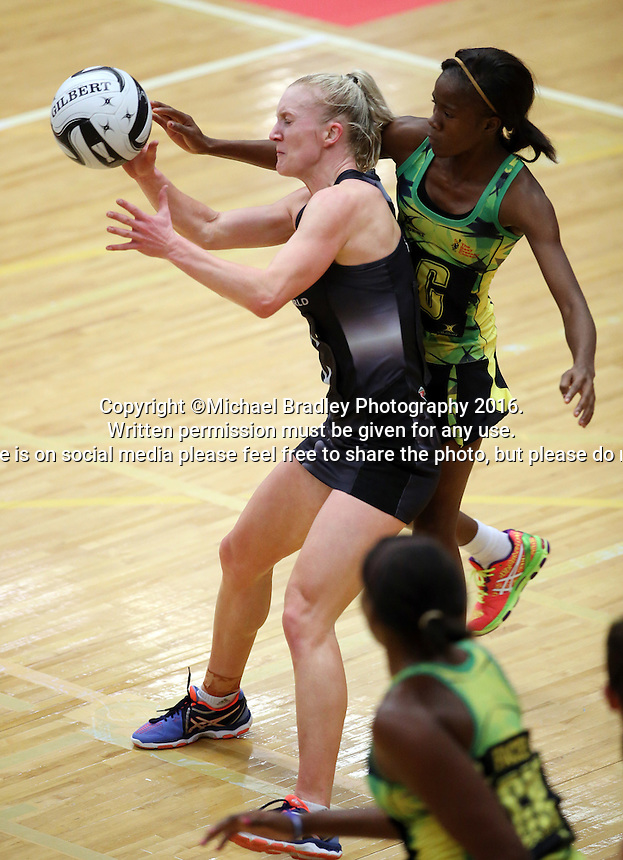 17.09.2016 Silver Ferns Shannon Francois and Jamacia's Nicole Dixon in action during the Taini Jamison netball match between the Silver Ferns and Jamaica played at the Energy Events Centre in Rotorua. Mandatory Photo Credit ©Michael Bradley.