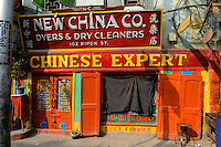 INDIA Westbengal, Kolkata, dyers and dry cleaners shop New China Co. in Ripon street