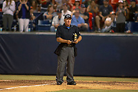 Home plate umpire Tony Walsh during the game between the University of Washington Huskies and the Cal State Fullerton Titans at Goodwin Field on June 10, 2018 in Fullerton, California. The Huskies defeated the Titans 6-5. (Donn Parris/Four Seam Images)