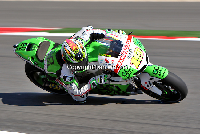 Alvaro Bautista (19) in action during the Red Bull MotoGP of the Americas practice session at Circuit of the Americas racetrack in Austin,Texas. ..