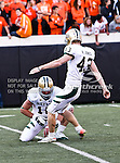 Baylor Bears kicker Aaron Jones (43) in action during the game between the Baylor Bears and the Oklahoma State Cowboys at the Boone Pickens Stadium in Stillwater, OK. Oklahoma State defeats Baylor 59 to 24.
