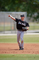 Miami Marlins shortstop Alex Yarbrough (29) throws to first base during a minor league Spring Training game against the New York Mets on March 26, 2017 at the Roger Dean Stadium Complex in Jupiter, Florida.  (Mike Janes/Four Seam Images)