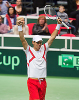 02-02-14,Czech Republic, Ostrava, Cez Arena, Davis Cup Czech Republic vs Netherlands, Tomas Berdych (CZE) celebrates his victory over Thiemo de Bakker and makes the Czech Republic go the the quarterfinal against Japan<br /> Photo: Henk Koster