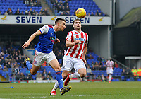 Ipswich Town's Jonas Knudsen battles with  Stoke City's Eric Sam Vokes<br /> <br /> Photographer Hannah Fountain/CameraSport<br /> <br /> The EFL Sky Bet Championship - Ipswich Town v Stoke City - Saturday 16th February 2019 - Portman Road - Ipswich<br /> <br /> World Copyright © 2019 CameraSport. All rights reserved. 43 Linden Ave. Countesthorpe. Leicester. England. LE8 5PG - Tel: +44 (0) 116 277 4147 - admin@camerasport.com - www.camerasport.com