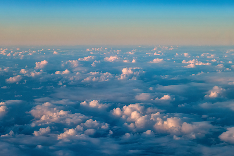 Clouds from the air over the Pacific Ocean.