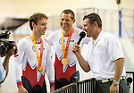 MILTON, ON, AUGUST 11, 2015. Cycling at the Velodrome. Daniel Chalifour & Alexandre Cloutier (BM) win gold in Men's Mixed Time Trial..<br /> Photo: Dan Galbraith/Canadian Paralympic Committee