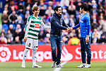 Takashi Inui of SD Eibar (L) with special guest Javier Fernandez, Spanish Figure Skater who kick-off the match (C) and Gaku Shibasaki of Getafe CF (R) during the La Liga 2017-18 match between Getafe CF and SD Eibar at Coliseum Alfonso Perez Stadium on 09 December 2017 in Getafe, Spain. Photo by Diego Souto / Power Sport Images