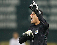 Keilor Navas #1 of Costa Rica after the second goal during a 2010 World Cup qualifying match against the USA in the CONCACAF region at RFK Stadium on October 14 2009, in Washington D.C.The match ended in a 2-2 tie.