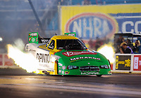 May 31, 2019; Joliet, IL, USA; NHRA funny car driver Jim Campbell during qualifying for the Route 66 Nationals at Route 66 Raceway. Mandatory Credit: Mark J. Rebilas-USA TODAY Sports