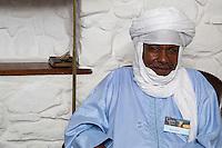 Nigerien Tuareg Silversmith Adam Zidia, Goree Island, Senegal.  He is wearing a tagelmust, the traditional Tuareg headwrap.