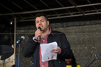 """Aaron Kiely (NUS National Black Students' Officer).<br /> <br /> London, 22/03/2014. """"Stand Up To Racism & fascism - No to Scapegoating Immigrants, No to Islamophobia, Yes to Diversity"""", national demo marking UN Anti-Racism Day organised by TUC (Trade Union Congress) and UAF (Unite Against Fascism).<br /> <br /> For more information please click here: http://www.standuptoracism.org.uk/"""