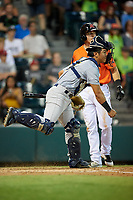 Trenton Thunder catcher Chace Numata (6) throws to second base as Ryan Howard (8) looks on during a game against the Richmond Flying Squirrels on May 11, 2018 at The Diamond in Richmond, Virginia.  Richmond defeated Trenton 6-1.  (Mike Janes/Four Seam Images)