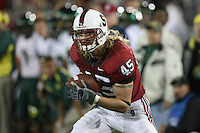 22 September 2007: Ben Ladner scores a touchdown during Stanford's 55-31 loss to the University of Oregon at Stanford Stadium in Stanford, CA.
