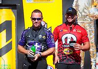 Sep 15, 2019; Mohnton, PA, USA; NHRA funny car driver Jack Beckman (left) with Matt Hagan during the Reading Nationals at Maple Grove Raceway. Mandatory Credit: Mark J. Rebilas-USA TODAY Sports