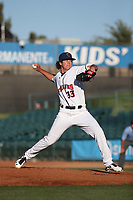 Peter Lambert (33) of the Lancaster JetHawks pitches against the San Jose Giants at The Hanger on May 5, 2017 in Lancaster, California. San Jose defeated Lancaster, 4-2. (Larry Goren/Four Seam Images)