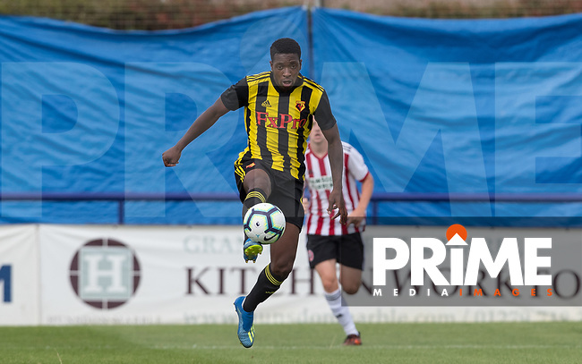 Michael Folivi of Watford during the Professonal Development League match between Watford U23 and Sheffield United U23 at The Maurice Rebak Stadium, Summers Lane, England on 17 August 2018. Photo by Andy Rowland.