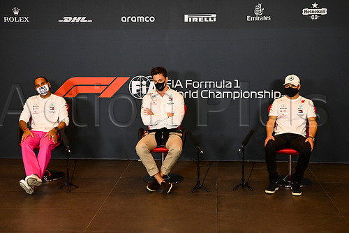 30th October 2020, Imola, Italy; FIA Formula 1 Grand Prix Emilia Romagna, inspection day;  44 Lewis Hamilton GBR, Mercedes-AMG Petronas Formula One Team, Toto Wolff AUT, Mercedes AMG Petronas Motorsport, 77 Valtteri Bottas FIN, Mercedes-AMG Petronas Formula One Team , during the driver press conference