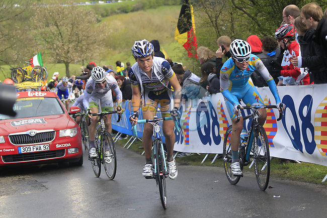 The tail end of the peloton including Rob Ruigh (NED) Vacansoleil-DCM and Evgeni Petrov (RUS) Astana Pro Team climbs the Cote de la Redoute during the 98th edition of Liege-Bastogne-Liege, running 257.5km from Liege to Ans, Belgium. 22nd April 2012.  <br /> (Photo by Eoin Clarke/NEWSFILE).