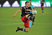 WASHINGTON, DC - SEPTEMBER 12: Frederic Brilliant #13 of D.C. United passes off the ball during a game between New York Red Bulls and D.C. United at Audi Field on September 12, 2020 in Washington, DC.