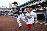 Reno Aces' Jack Reinheimer takes the field for a game against the Salt Lake Bees at Greater Nevada Field, in Reno, Nev., on Wednesday, Aug. 10, 2016.  <br /> Photo by Cathleen Allison