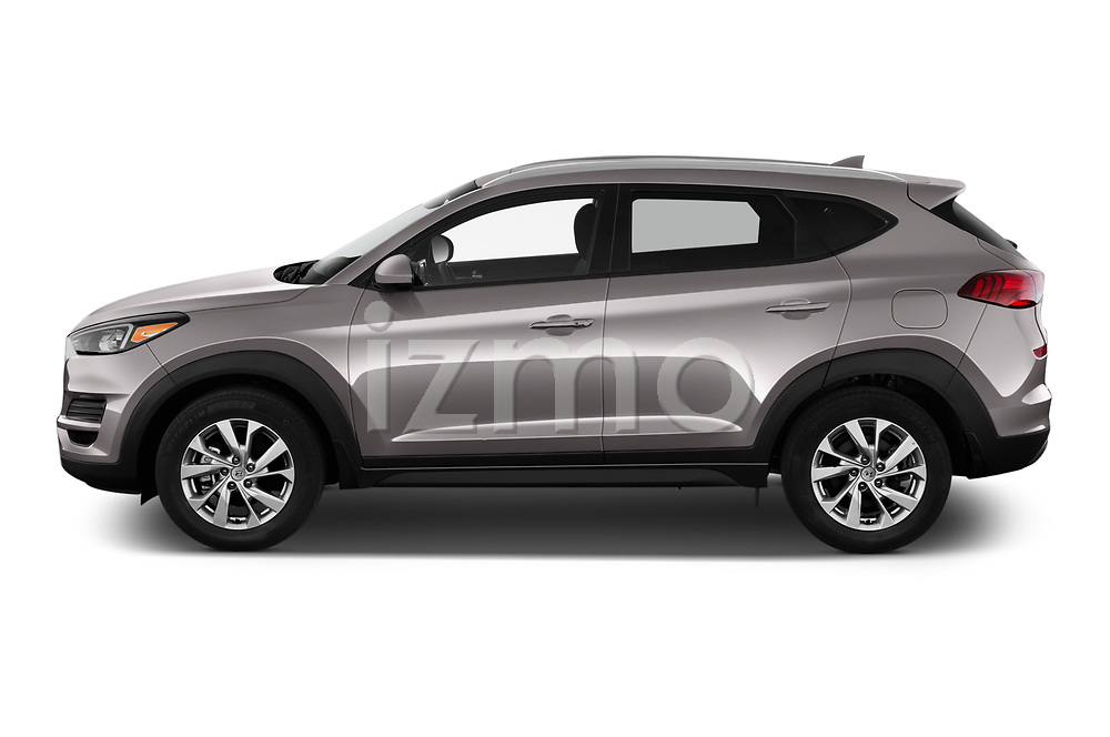 Car driver side profile view of a 2019 Hyundai Tucson Value 5 Door SUV