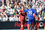 GER - Mannheim, Germany, May 27: During the men semi-final match between Rot-Weiss Koeln and Harvestehuder THC at the Final4 tournament May 27, 2017 at Am Neckarkanal in Mannheim, Germany. (Photo by Dirk Markgraf / www.265-images.com) *** Local caption *** Mathias MUELLER #27 of Rot-Weiss Koeln, Victor (GK) ALY #30 of Rot-Weiss Koeln