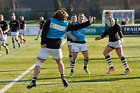 The ball escapes Elliot Millar Mills of Ealing Trailfinders during the Championship Cup Quarter Final match between Ealing Trailfinders and Nottingham Rugby at Castle Bar , West Ealing , England  on 2 February 2019. Photo by Carlton Myrie / PRiME Media Images.