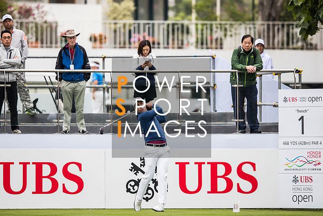 Nino Bertasio of Italy tees off during the day three of UBS Hong Kong Open 2017 at the Hong Kong Golf Club on 25 November 2017, in Hong Kong, Hong Kong. Photo by Yu Chun Christopher Wong / Power Sport Images