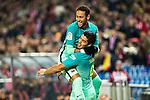 FC Barcelona's forward Neymar Santos Jr (L) and forward Luis Suarez (R) celebrates after scoring a goal during the match of Copa del Rey between Atletico de  Madrid and Futbol Club Barcelona at Vicente Calderon Stadium in Madrid, Spain. February 1st 2017. (ALTERPHOTOS/Rodrigo Jimenez)