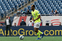 FOXBOROUGH, MA - MAY 12: Illal Osumanu #28 of Union Omaha looks to pass during a game between Union Omaha and New England Revolution II at Gillette Stadium on May 12, 2021 in Foxborough, Massachusetts.